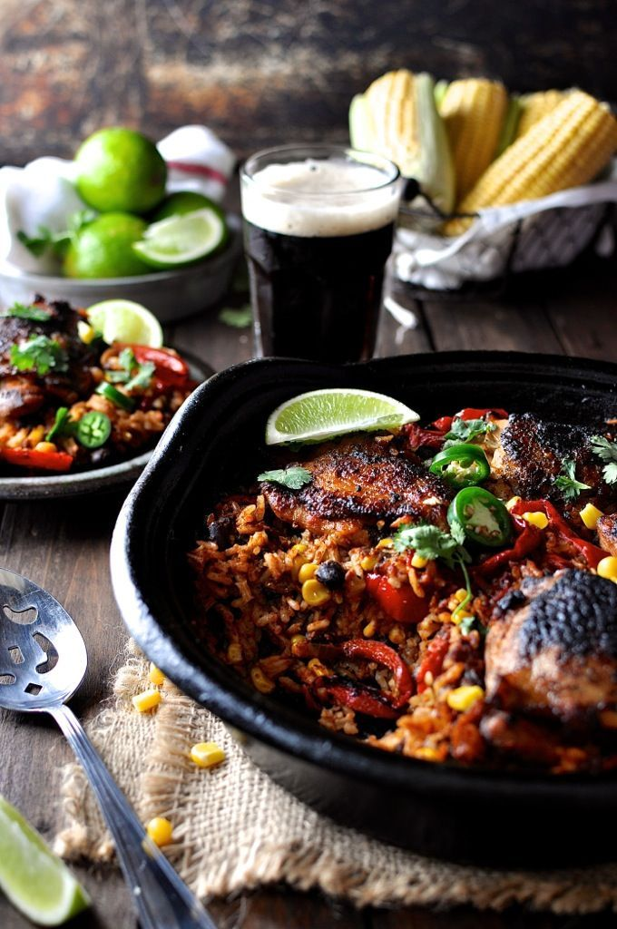 One Pot Mexican Chicken Rice - a flavour explosion in one bowl! Crispy chicken with Fajita seasoning & Mexican spiced rice, made from scratch.