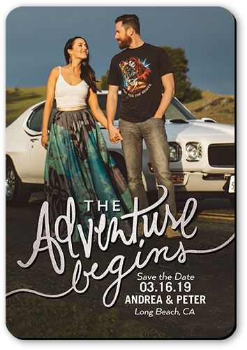 Save The Date Card: The Adventure Begins, Square, Grey