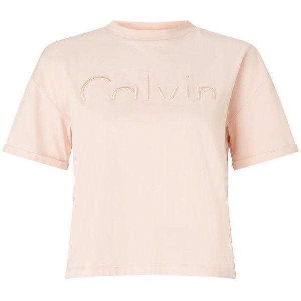 Calvin Klein Teco-13 Logo T-Shirt ($59) ❤ liked on Polyvore featuring tops, t-shirts, cut off t shirt, pattern t shirt, cotton logo t shirts, calvin klein tops and logo t shirts