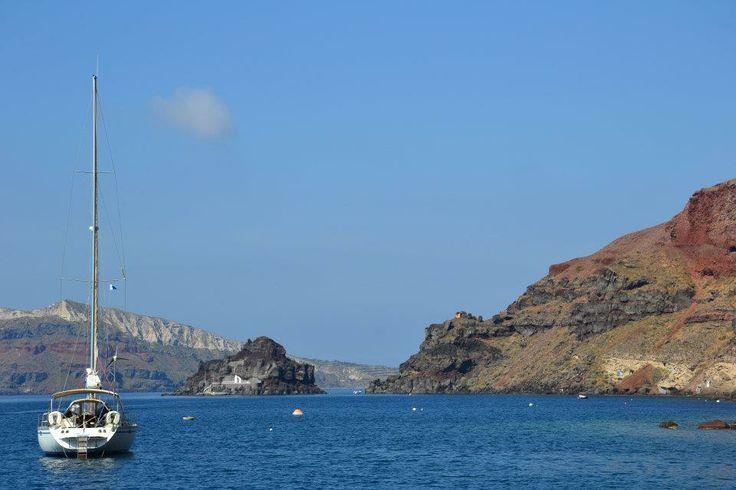 Our sailing yacht Tahita under Oia, Santorini