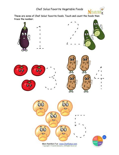 Preschool Writing Activity - Trace The Vegetable Foods