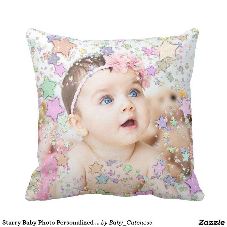 Starry Baby Photo Personalized Pillow. Inspiration to create your product. The photograph must have good resolution. Inspiración para crear tu producto. La fotografía debe tener buena resolución. #cojín #pillows