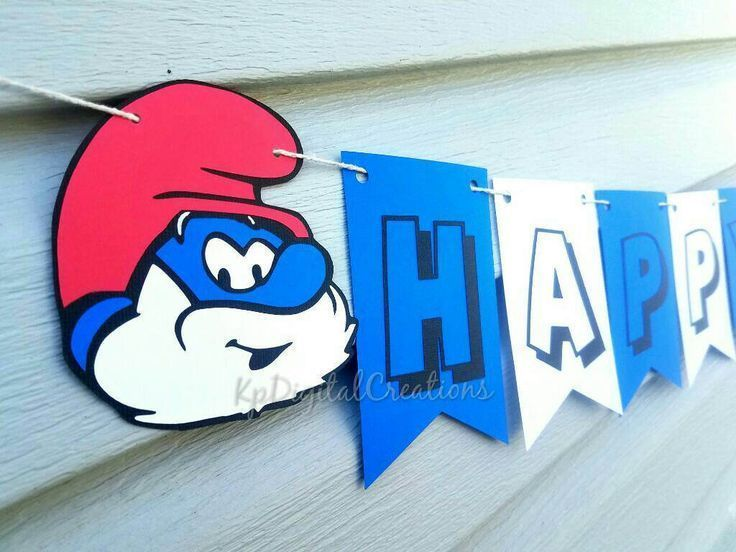 Smurfs birthday party banner, Smurfs party, Smurfs birthday, Papa ...