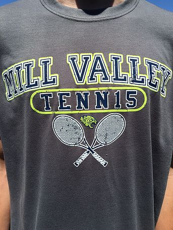 Gildan Performance Wear T-Shirt with 3 color screen printed design. School Tennis Spiritwear. Embroidery, Printing, or Applique' on blank apparel, bags, and caps.