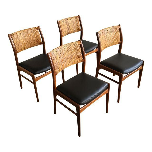 Dux Vintage Danish Modern Cane Back Dining Chairs Set Of 4 8078