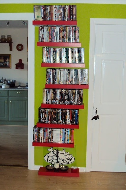 Floating shelves for DVD storage or books!!