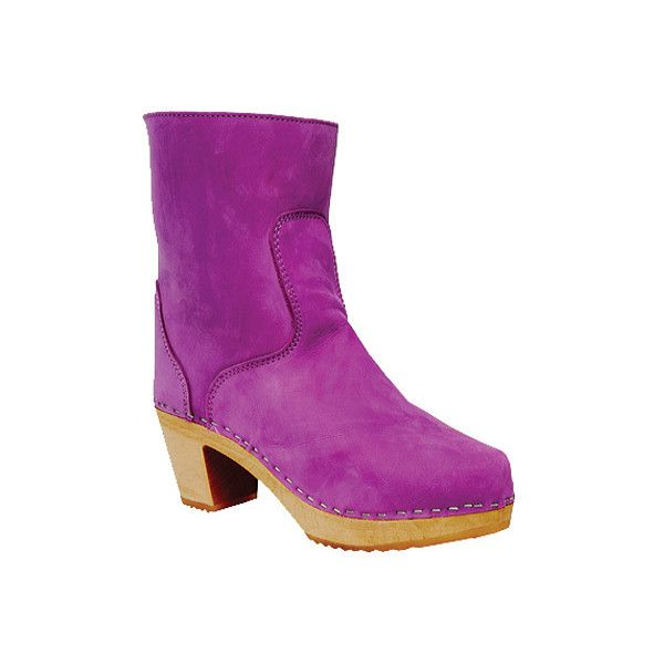 Women's Cape Clogs Vasa - Purple Leather Ankle Boots ($225) ❤ liked on Polyvore featuring shoes, boots, purple, mid heel ankle boots, ankle length boots, purple leather boots, leather shoes en genuine leather boots