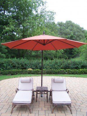 outdoor oakland living elite cast aluminum chaise lounge chat set with cantilever umbrella burnt orange umbrella color