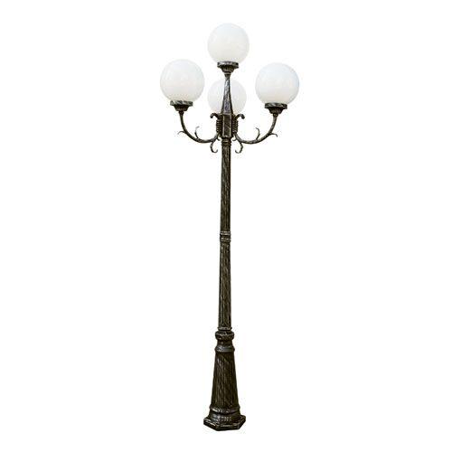 Madison 89 Inch 4 Globe Four Light Outdoor Lamp Post Swedish Iron Trans Globe Lighting Po