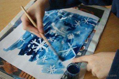 Śnieżki- kredka świecowa i farby
