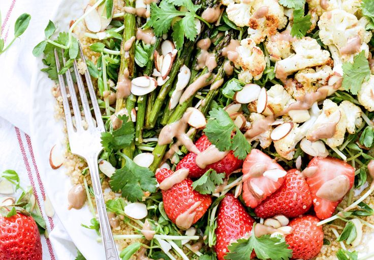 ... and Pea Shoot Salad with Cauliflower, Asparagus and Strawberries