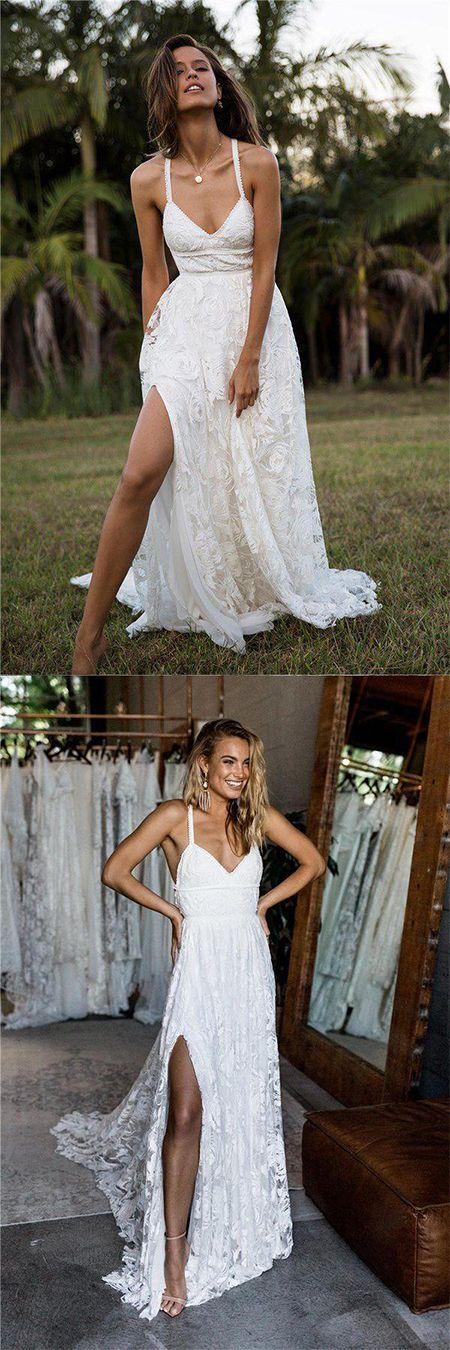 Charming Lace Long A-line Spaghetti Straps Split Beach Wedding Dress #lace #beachwedding #slit #vneck #ivory #okdresses