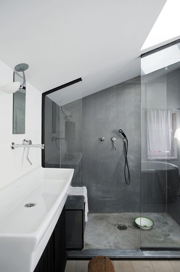 trough basin and grey slate shower