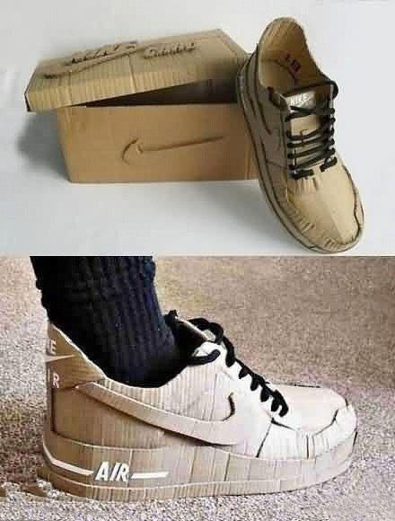 @Leslie Lippi Rash Berckes Casse Pieds Creative nike shoe from cardboard