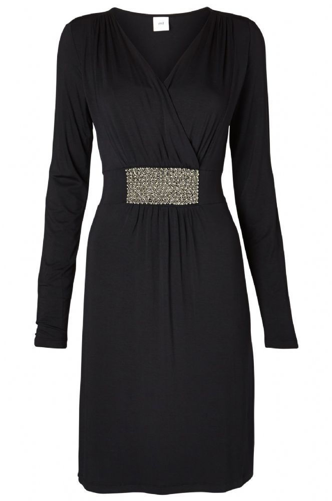 Special occasion black maternity dress with nursing access for discreet breastfeeding The Dallas Black Dress features a pretty band of silver beading