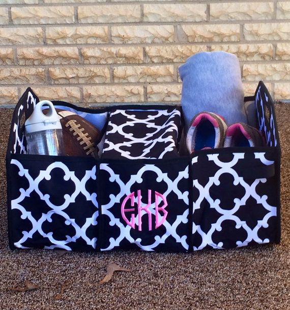Monogram Car Organizer  Black Trunk by SassyClassyMonogram on Etsy