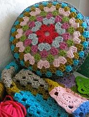 crochet colorful pillow.