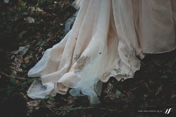A whimsical tulle & georgette train perfect for a stunning forest wedding in Magoebaskloof.