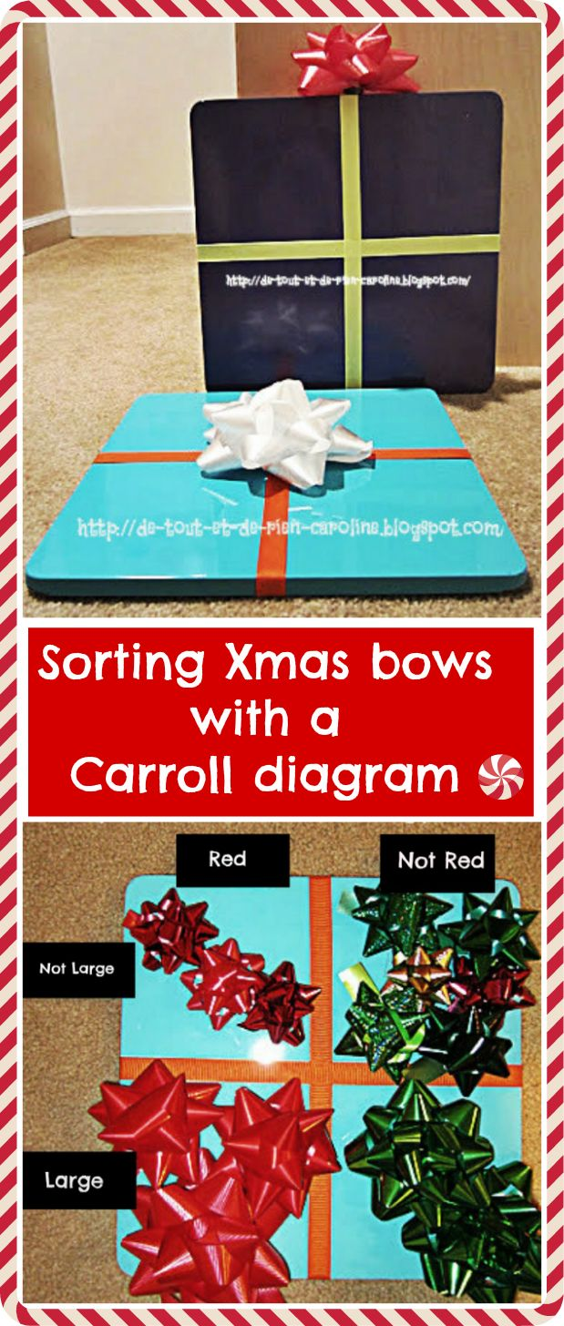 The 25 best carroll diagram ideas on pinterest carroll school sorting christmas bows in a magnetic gift shape carroll diagram super fun pooptronica