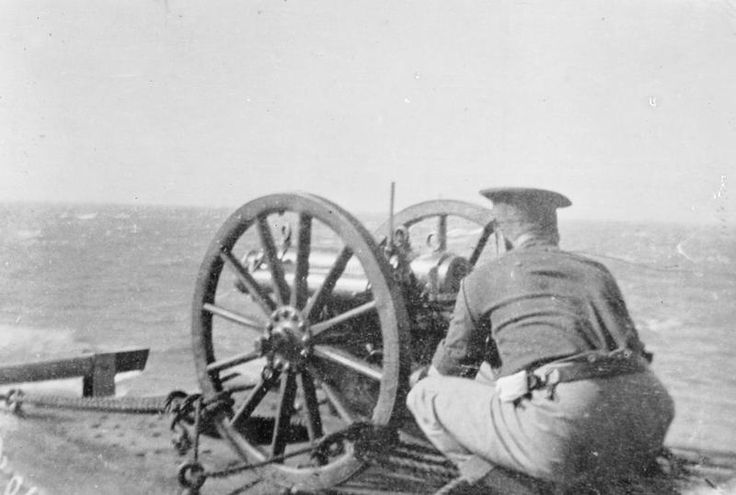 "2.95"" gun mounted on board ship. German East Africa.  GUN MOUNTED BOARD SHIP…"
