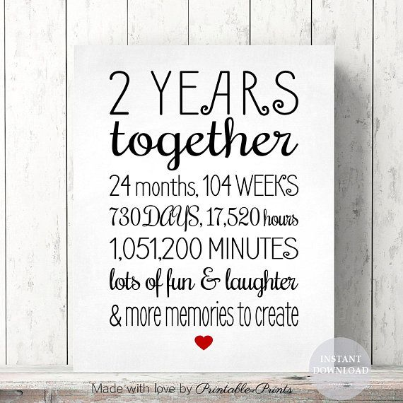 2 Year Anniversary Sign, Annviersary Cute Gift for Boyfriend PRINTABLE Card Poster Digital File Ins
