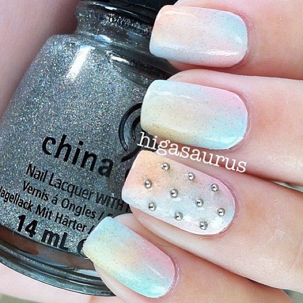 #nailary ombre and studs, pastel colors: Brightnails Notmine, Fashionnails Brightnails, Fashion Fashionnails, Bridal Nails, Makeup, Expensive Nails, Favorite Nails, Art Nails, Gorgeous Nails