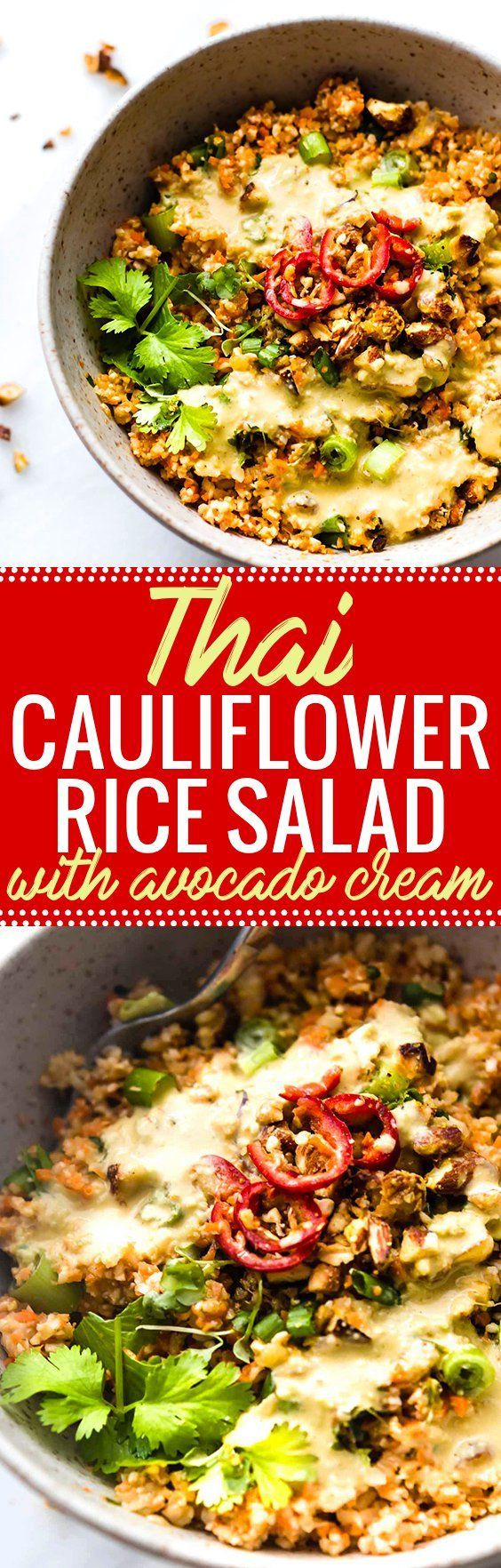 Colorful Thai Cauliflower Rice Salad is packed full of flavor, spice, and made easy! Thai spiced mixed into a  Carrot Cauliflower Rice Salad with Avocado Cream Dressing! It's both Paleo, Vegan, and made in under 30 minutes. Perfect as is or with a protein