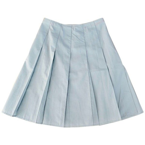 Pre-owned Light blue skirt ($89) ❤ liked on Polyvore featuring skirts, blue, prada skirt, light blue pleated skirt, light blue skirt, prada and pleated skirts