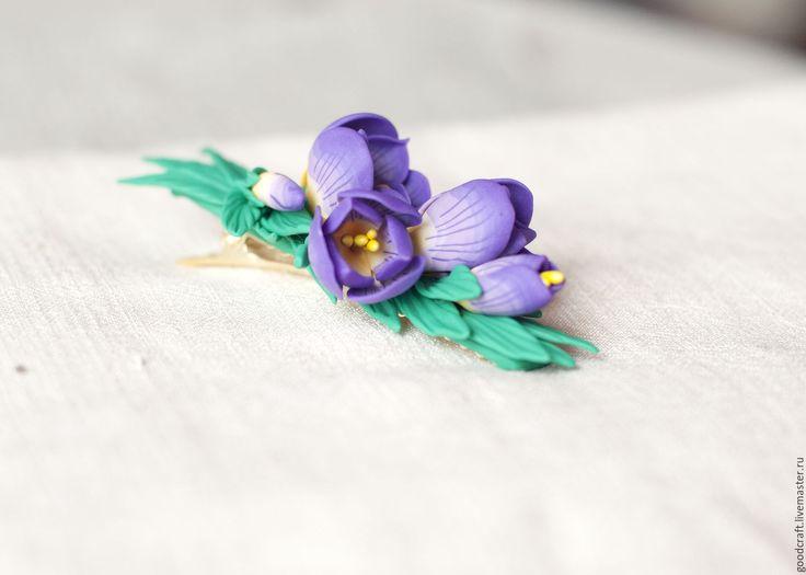 """Купить Заколка """"Фиолетовый подснежник"""" - подснежники, фиолетовый, весна, заколка, для прически, для невесты, для выпускного"""