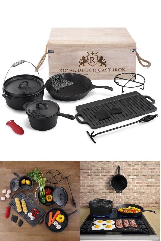 Cast Iron Cookware Set 11 Piece Camping RV Chef Griddle Dutch Oven Frypans Retro #RoyalDutchCastIron1815