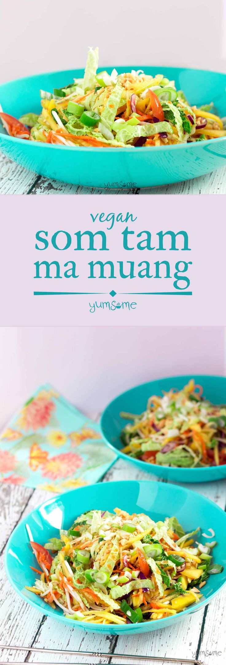 Ready in 20 mins, vegan som tam is a simple, delicious Thai salad made with crunchy vegetables dressed in a fresh and zingy hot, sour, salty, sweet sauce. | yumsome.com via @yums0me