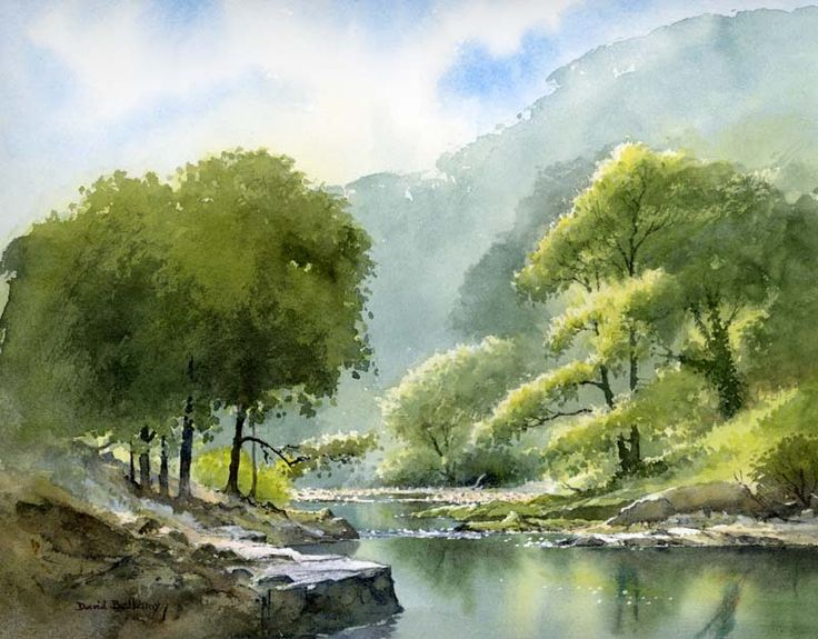 Summer River, watercolour by Daivd Bellamy