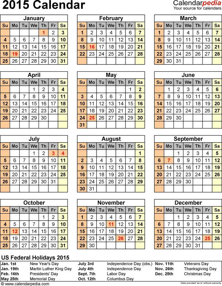 Template 14: 2015 Calendar for Excel,1 page, portrait orientation