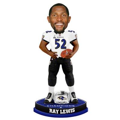 Ray Lewis Baltimore Ravens Super Bowl XLVII Champions Ring Bobblehead #ravens #baltimore #nfl