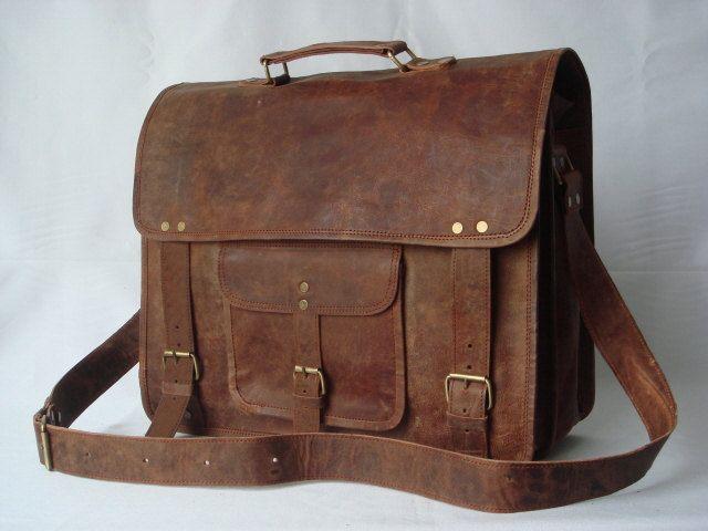 9653374ad Vintage Distressed Goat Leather Messenger Bag / Satchel / Briefcase / Laptop  Bag   Things I want   Bags, Leather laptop bag, Satchel