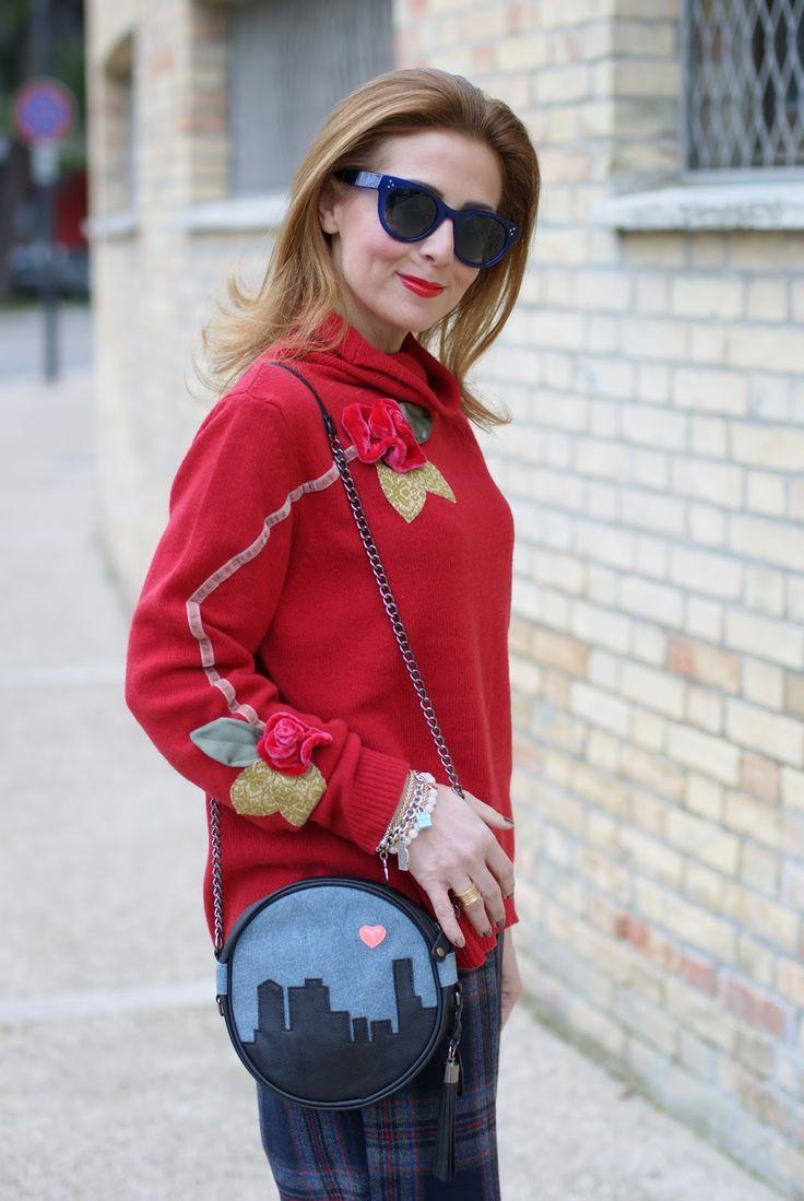 Rosè a Pois maglione con applicazioni