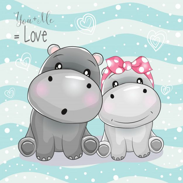 Two Cute Hippo Cartoon On Striped Background Cute Hippo Cute Cartoon Drawings Cute Cartoon Wallpapers