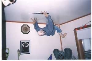 Halloween ceiling prop. I'd do this but I'd just end up scaring myself in the morning. :-P