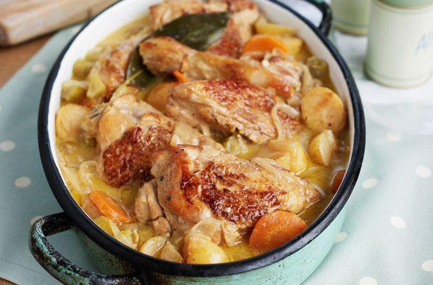 Κοτόπουλο+με+μανιτάρια+και+καρότα+με+κρεμώδη+σάλτσα