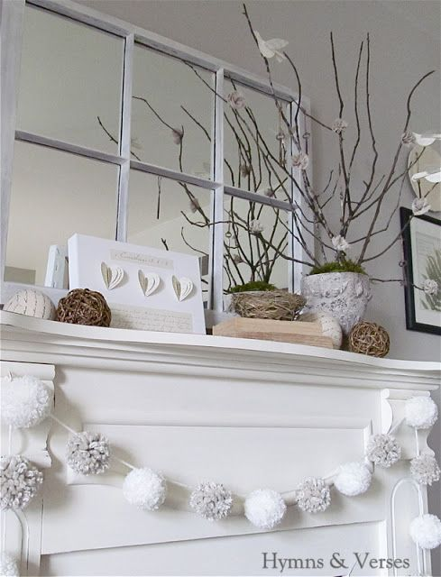 Hymns and Verses: My Winter Mantel; love the pom pom garland, and the little scripture canvas and tree
