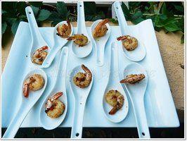 Crevettes marinées et grillées à la plancha