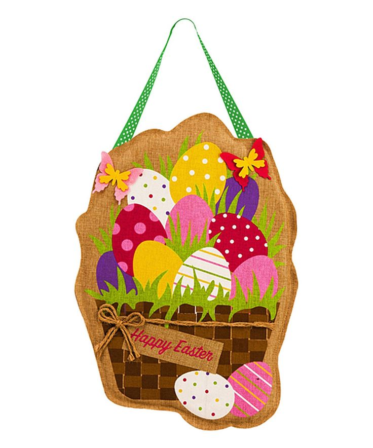 Look what I found on #zulily! Easter Egg Basket Burlap Door Hanger by Evergreen #zulilyfinds