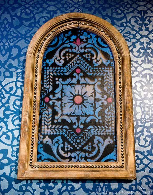 Moroccan Inspired stenciling at Priya Lounge, Charleston. Stencil by Royal Design Studio