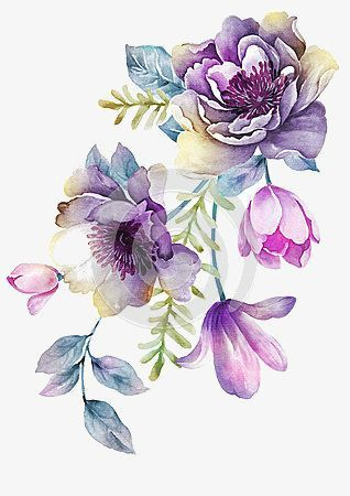 Bright Violet, Hand Painted, Purple, Large Flowers PNG