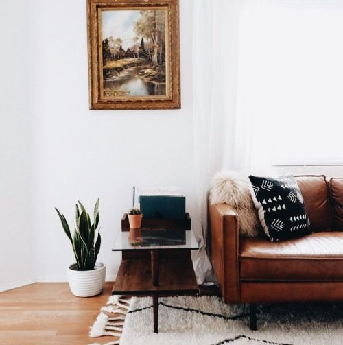 The contrast of the brown couch against the cream colored rug with accents of black.