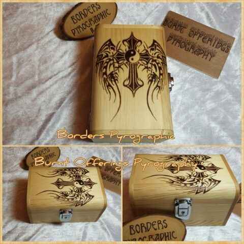 Tribal Wings and Yinyang cross pyrography on pine box. Burned by Tracey Glover at Borders Pyrographic