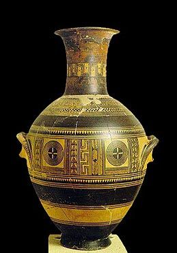 Attic urn of the Early Geometric Period. 860-840 BC. In the main decorative zone -the belly of the vase- the geometric motifs are presented within frames. Kerameikos Museum, Athens Hellenic Ministry of Culture/Archaeological Receipts Fund.