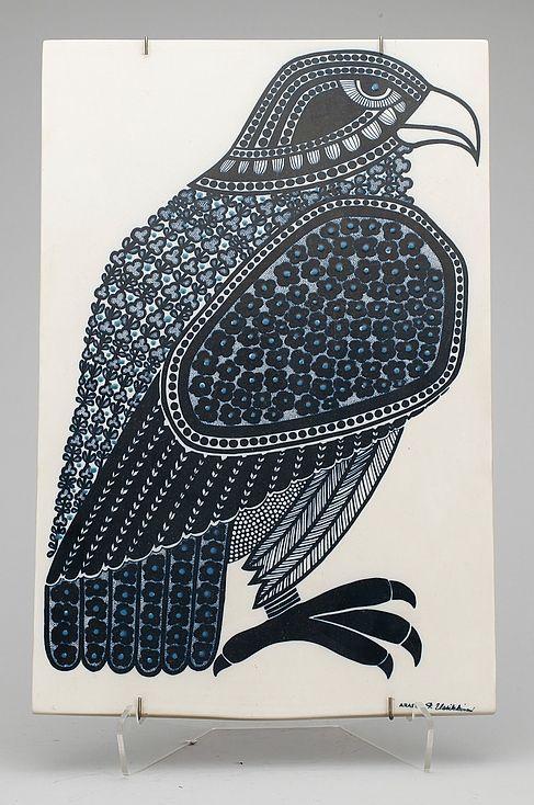 Raija Uosikkinen; Glazed Ceramic Decorative Tile for Arabia, c1970.