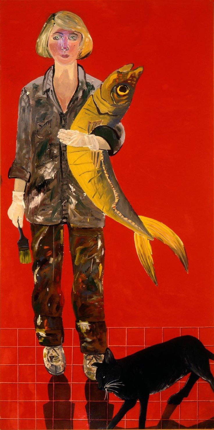 Joan Brown (American, Second generation of the Bay Area Figurative movement,1938-1990): Self-Portrait with fish and cat, 1970.