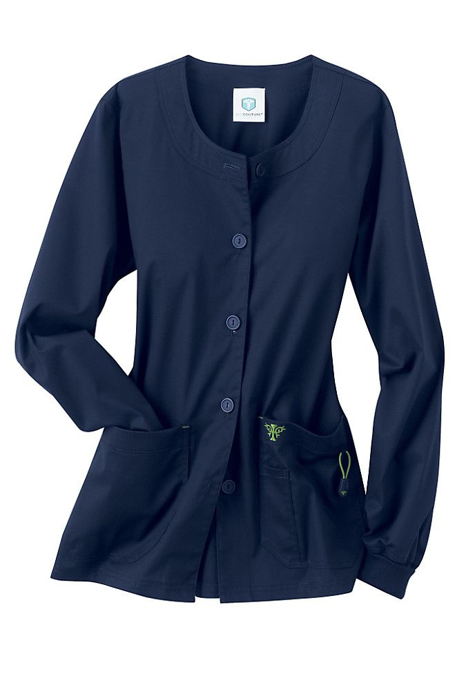 Med Couture warm-up scrub jacket. Main Image